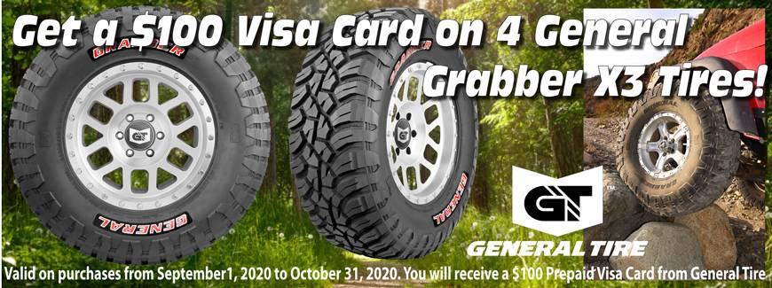 General Tire X3 $100 rebate October 2020