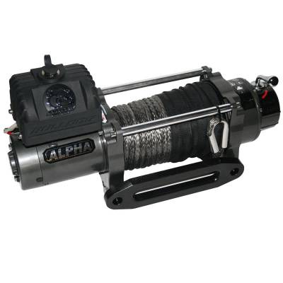 Bulldog Winch - 9300lb Alpha Series w/6.0hp Series Wound, 100ft Synthetic Rope, Aluminum Fairlead