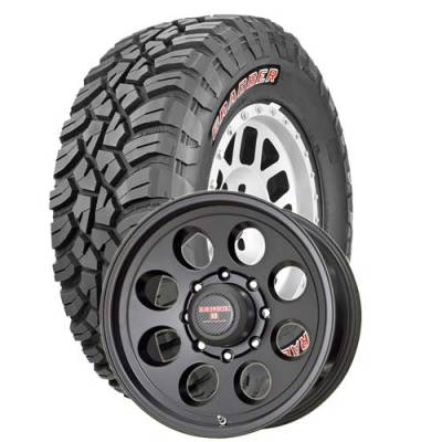 General Tire - LT295/70R17  General Grabber X3 SRL on Tracker II Black Wheels