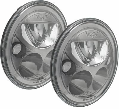 "Vision X Lighting - VISION X 07-17 JEEP JK HEADLIGHTS  - PAIR OF 7"" BLACK CHROME ROUND VX LED HEADLIGHT W/ LOW-HIGH-HALO"