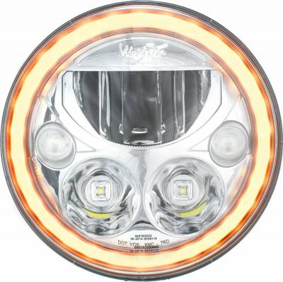 """Vision X Lighting - VISION X PAIR OF 7"""" ROUND AMBER HALO VX SERIES LED HEADLIGHT W/ LOW-HIGH-HALO"""