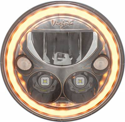 """Vision X Lighting - VISION X PAIR OF 7"""" ROUND AMBER HALO VX SERIES BLACK CHROME FACE LED HEADLIGHT W/ LOW-HIGH-HALO"""