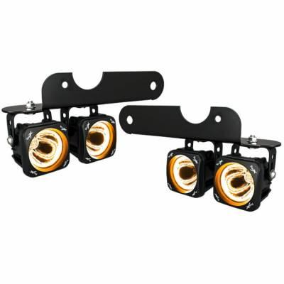 Vision X Lighting - VISION X 10-17 JEEP JK STYLE FACTORY FOG LIGHT UPGRADE KIT USING OPTIMUS ROUND AMBER HALO LIGHTS