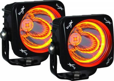 Vision X Lighting - VISION X OPTIMUS SQUARE HALO BLACK 1 10W LED  2 LIGHT KIT