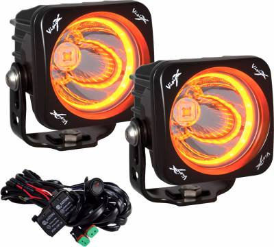"Vision X Lighting - VISION X KIT OF TWO 3.0"" OPTIMUS AMBER HALO SERIES PRIME BLACK 10-WATT LED LIGHT 15 DEGREE BEAM - EMARK CERTIFIED WITH DUAL WIRE HARNESS"