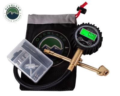 Overland Vehicle Systems - Digital Tire Guage with Valve Kit & Storage Bag