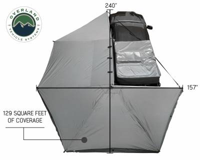 Overland Vehicle Systems - Nomadic Awning 270 - Dark Gray Cover With Black Transit Cover - Driver Side & Brackets