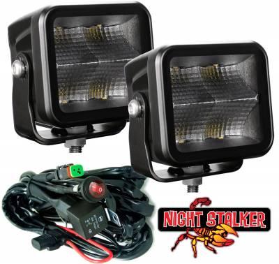 """Night Stalker Lighting - BLACKOUT 3D 40 Watt High Energy KIT - 3"""" Compact Driving Lights - Flood/Fog Lens"""