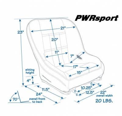 Mastercraft - Mastercraft PWR Sport Low Back Seat - Blue/Black - Image 2