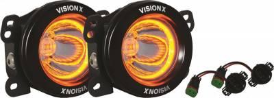 Vision X Lighting - VISION X 10-17 JEEP JK STYLE FACTORY FOG LIGHT UPGRADE KIT USING OPTIMUS ROUND AMBER HALO LIGHTS - Image 2