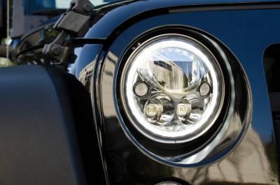 "Vision X Lighting - VISION X 07-17 JEEP JK HEADLIGHTS  - PAIR OF 7"" BLACK CHROME ROUND VX LED HEADLIGHT W/ LOW-HIGH-HALO - Image 3"