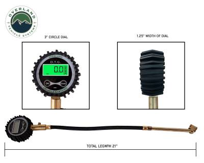 Overland Vehicle Systems - Digital Tire Guage with Valve Kit & Storage Bag - Image 4