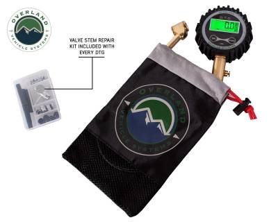 Overland Vehicle Systems - Digital Tire Guage with Valve Kit & Storage Bag - Image 5