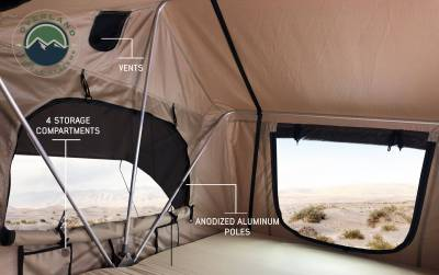 Overland Vehicle Systems - TMBK 3 Roof Top Tent - Tan Base With Green Rain Fly - Image 3