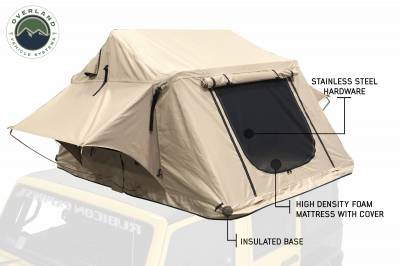 Overland Vehicle Systems - TMBK 3 Roof Top Tent - Tan Base With Green Rain Fly - Image 1