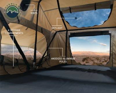 Overland Vehicle Systems - TMBK 3 Roof Top Tent - Tan Base With Green Rain Fly - Image 4