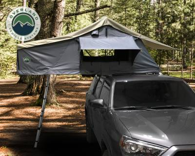 Overland Vehicle Systems - Nomadic 3 Extended Roof Top Tent - Dark Gray Base With Green Rain Fly & Black Cover - Image 1