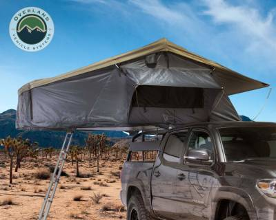 Overland Vehicle Systems - Nomadic 3 Extended Roof Top Tent - Dark Gray Base With Green Rain Fly & Black Cover - Image 2