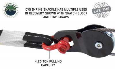"Overland Vehicle Systems - Recovery Shackle 3/4"" 4.75 Ton - Red - Image 3"