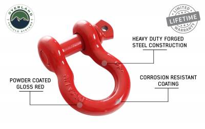 "Overland Vehicle Systems - Recovery Shackle 3/4"" 4.75 Ton - Red - Image 4"