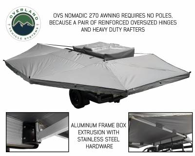 Overland Vehicle Systems - Nomadic Awning 270 - Dark Gray Cover With Black Transit Cover - Driver Side & Brackets - Image 2