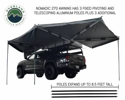 Overland Vehicle Systems - Nomadic Awning 270 - Dark Gray Cover With Black Transit Cover - Driver Side & Brackets - Image 3