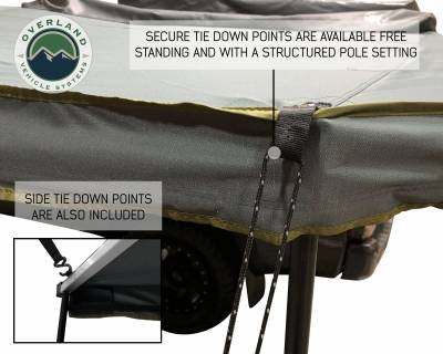 Overland Vehicle Systems - Nomadic Awning 270 - Dark Gray Cover With Black Transit Cover - Driver Side & Brackets - Image 6