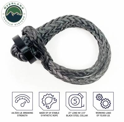 """Overland Vehicle Systems - Soft Shackle 5/8"""" 44,500 lb. With Collar - 22"""" With Storage Bag - Image 2"""