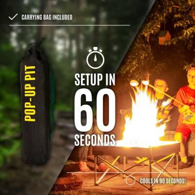 Fireside Outdoor - Fireside Outdoor Pop-Up Fire Pit & Heat Shield Combo - Image 6