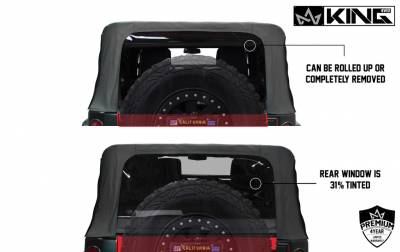 King 4WD - King 4WD Premium Replacement Soft Top, Black Diamond With Tinted Windows, Jeep Wrangler Unlimited JK 4 Door 2010-2018 - Image 8