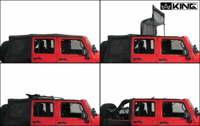 King 4WD - King 4WD Premium Replacement Soft Top, Black Diamond With Tinted Windows, Jeep Wrangler Unlimited JK 4 Door 2010-2018 - Image 6