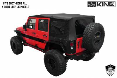King 4WD - King 4WD Premium Replacement Soft Top, Black Diamond With Tinted Windows, Jeep Wrangler Unlimited JK 4 Door 2010-2018 - Image 3